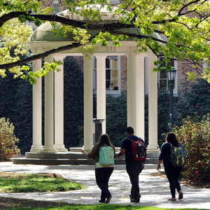 Students walking past the Old Well